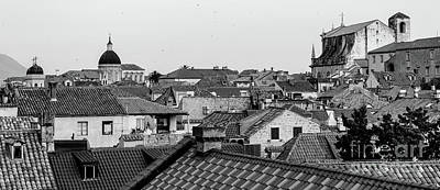 Photograph - Black And White Panorama, Tile Roofs Of Dubrovnik, From The City Walls, Dubrovnik, Croatia by Global Light Photography - Nicole Leffer