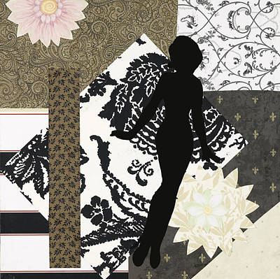 Little Girls Room Mixed Media - Black And White Paper Doll by Katia Von Kral