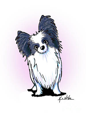 Drawing - Black And White Papillon by Kim Niles
