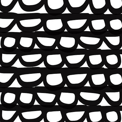 Black And White Pebbles- Art By Linda Woods Print by Linda Woods