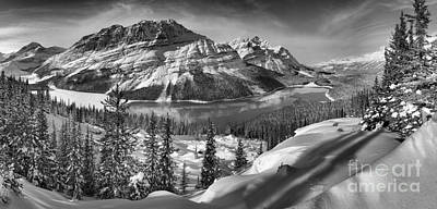 Photograph - Black And White Peyto Lake Winter Panorama by Adam Jewell