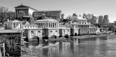 Phillies Digital Art - Black And White Philadelphia Waterworks And Art Museum Panorama by Bill Cannon