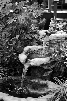 Photograph - Black And White Photo Of Garden Fountain by Serena King