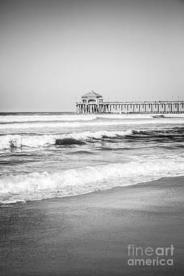 Huntington Beach California Photograph - Black And White Photo Of Huntington Beach Pier  by Paul Velgos
