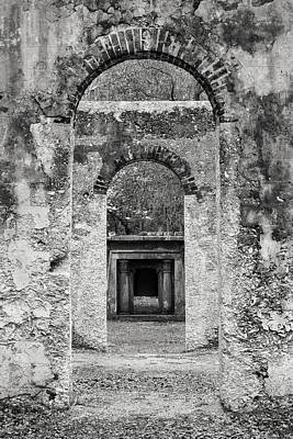Black And White Photograph Beaufort Historic Church - Chapel Of The Ease Art Print