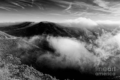 Black And White Photograph Of Fog Rising In The Marin Headlands - Sausalito Marin County California Art Print