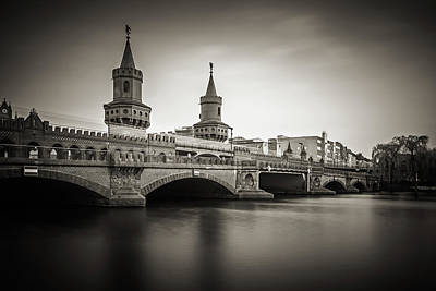 Black And White Photograph - Black And White Photography - Berlin - Oberbaum Bridge by Alexander Voss
