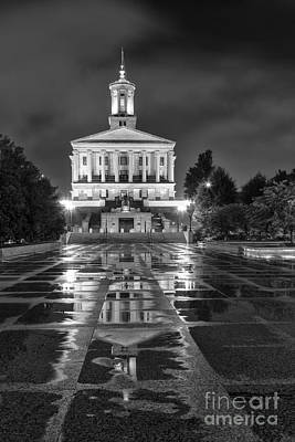 Capital Building In Nashville Tennessee Photograph - Black And White Photography Print Of The State Capital Building Of Nashville Tennessee by Jeremy Holmes
