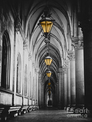Black And White Picture Of City Hall Corridor With Lanterns And Pillars In Vienna Rathaus Art Print
