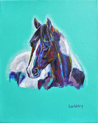 Pretty Cowgirl Painting - Black And White Pinto by Lee Walker