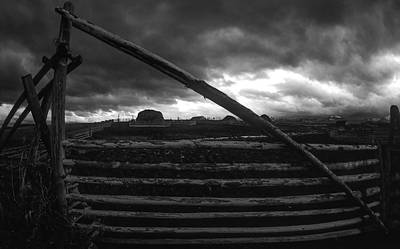 Agriculture Digital Art - Black And White Pole Fence Cattle Gate by Jerry Voss