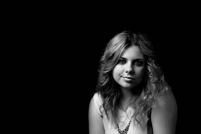Photograph - Black And White Portrait Of Smiling Young Woman. by Jaroslav Frank