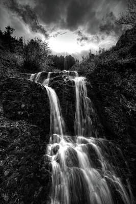 Photograph - Black And White Quarry Falls  by David Andersen