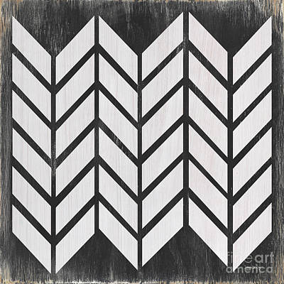 Block Quilts Painting - Black And White Quilt by Debbie DeWitt