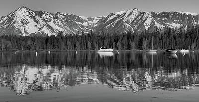Photograph - Black And White Reflection On Jackson Lake Wyoming by Dan Sproul