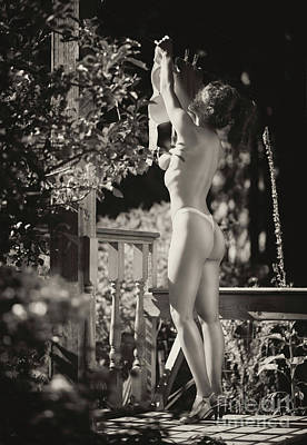 Nude Photograph - Black And White Retro Pin-up Photo Of Sexy Topless Woman Hanging by Awen Fine Art Prints