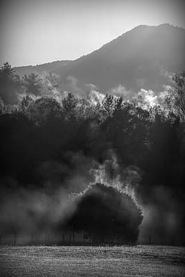 Photograph - Black And White Rising Fog In The Smokies by Dan Sproul