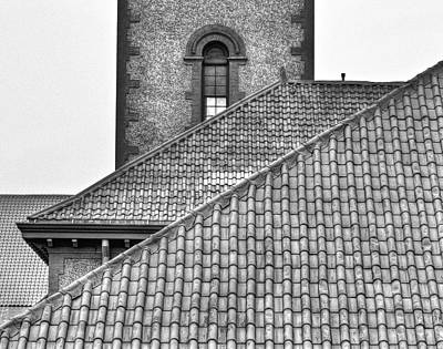 Black And White Rooflines Art Print by Jean Noren