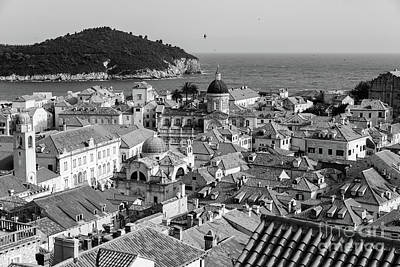 Photograph - Black And White Roofs Of Dubrovnik, From The City Walls, Dubrovnik, Croatia by Global Light Photography - Nicole Leffer