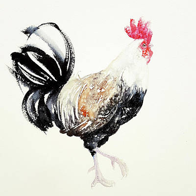 Painting - Black And White Rooster by Arti Chauhan