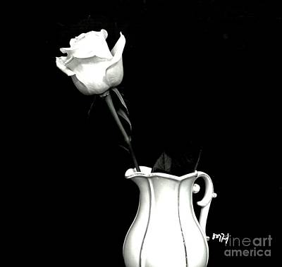 Art Print featuring the photograph Black And White Rose Three by Marsha Heiken