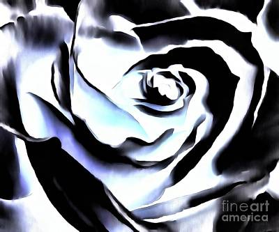 Art Print featuring the photograph Black And White Rose - Till Eternity by Janine Riley