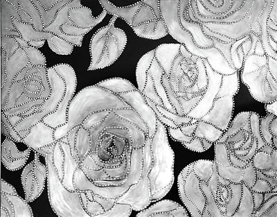 Painting - Black And White Roses by Nareeta Martin