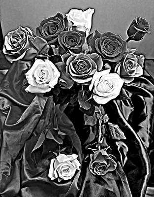 Mixed Media - Black And White Roses Silk Abstract Art by Elizavella Bowers
