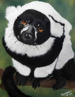 Black And White Ruffed Lemur Original by Debbie LaFrance