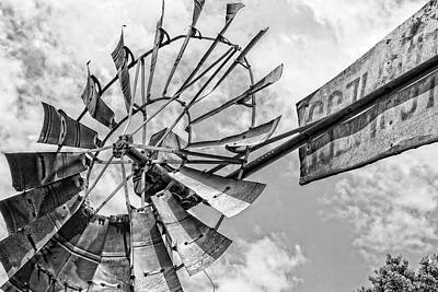 Photograph - Black And White Rusted Windmill by Deborah Ann Stott