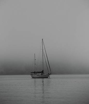 Black And White Sail Ship In Fog Art Print by Dan Sproul