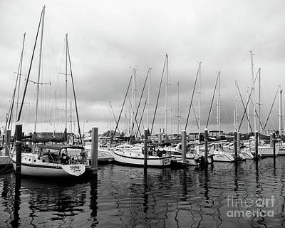 Travel - Black and White Sailboats by Erin Johnson