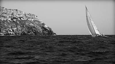 Photograph - Black And White Sailing By Mediterranean by Pedro Cardona