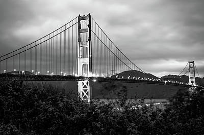 City Scenes Photograph - Black And White San Francisco - Golden Gate Bridge by Gregory Ballos