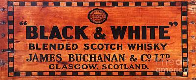 Black And White Scotch Whiskey Wood Sign Art Print by Jon Neidert