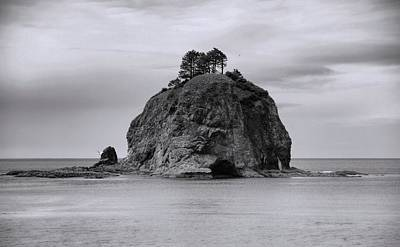 Photograph - Black And White Sea Stack Washington by Dan Sproul