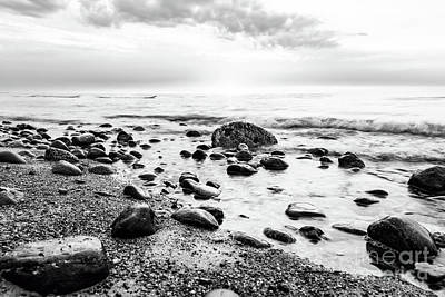 Windy Photograph - Black And White Sea. Waves Hitting In Rocks by Michal Bednarek