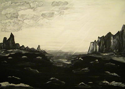 Painter Mixed Media - Black And White Seascape by Carmen Kolcsar