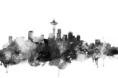 City Digital Art - Black And White Seattle Skyline  by Dim Dom