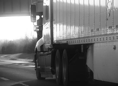 Photograph - Black And White Semi Truck On The Highway by Dan Sproul