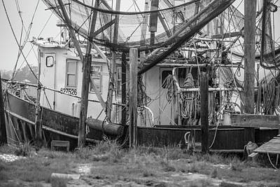 Photograph - Black And White Shrimp Boat  by John McGraw