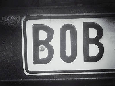Car Names Photograph - Black And White Sign by Tom Gowanlock