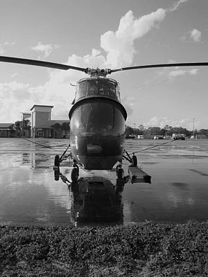 Photograph - Black And White Sikorsky Helicopter 000 by Chris Mercer