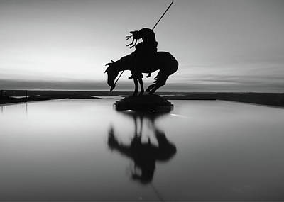 Photograph - Black And White Silhouette Reflections Of Native America - Top Of The Rock Missouri by Gregory Ballos