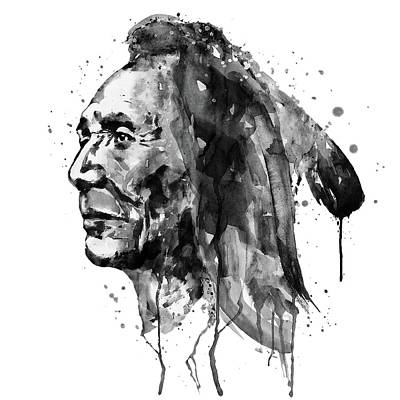 Native Portraits Mixed Media - Black And White Sioux Warrior Watercolor by Marian Voicu