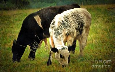 Photograph - Black And White Speckled Cows - Cows In Pasture by Janine Riley