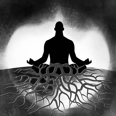 Digital Art - Black And White Spiritual Grounding by Serena King