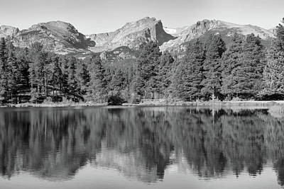 Photograph - Black And White Sprague Lake Reflection by Dan Sproul