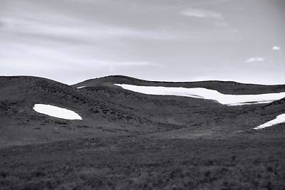 Lamar River Photograph - Black And White Spring Snow Patches In Lamar Valley by Dan Sproul