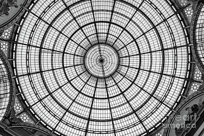 Photograph - Black And White Stained Glass Ceiling Of The Galleria Vittorio Emanuele II, Milan, Italy by Global Light Photography - Nicole Leffer